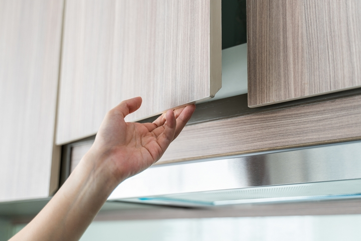 Open your bathroom and kitchen cabinets