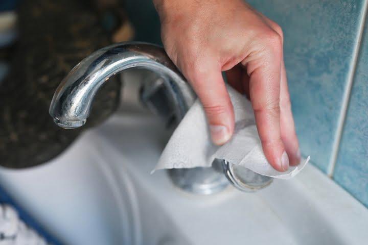 Clean the plumbing fixtures