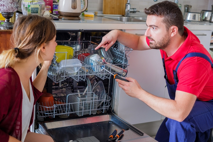 When the dishwasher uses too much power, this can cause water backing up in kitchen sink.